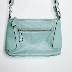 Perlina Aqua Blue Leather Crossbody Purse Bag